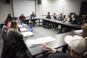 Filmmaker Joe Swanberg (Drinking Buddies, Happy Christmas) visits with students in CA 466: Writing for Television and Film.