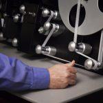 Engineer Boyd Hillestad operates the Lasergraphics ScanStation film scanner.
